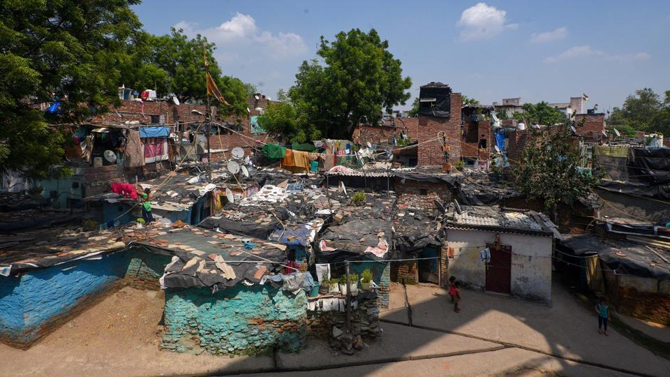 """""""The 'Jahan Jhuggi Wahin Makaan' policy is the flagship policy of Delhi government. We have to ensure construction of the EWS flats for the in-situ rehabilitation of people should be completed in its due timeline,"""" Kejriwal said.In this picture, an aerial view of Anna Nagar Camp in ITO, New Delhi."""
