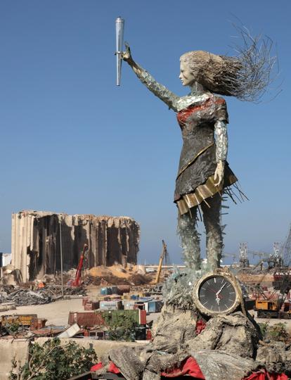 A view shows a statue by Lebanese artist, Hayat Nazer, which is made entirely out of broken glass and debris of the August 4 port explosion, near the port of Beirut, Lebanon October 26, 2020.  (REUTERS)