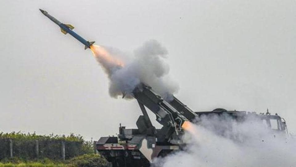 The Quick Reaction Surface to Air Missile (QRSAM) system developed by Defence Research and Development Organisation (DRDO) during a test  at the Integrated Test Range at Chandipur off the Odisha coast.
