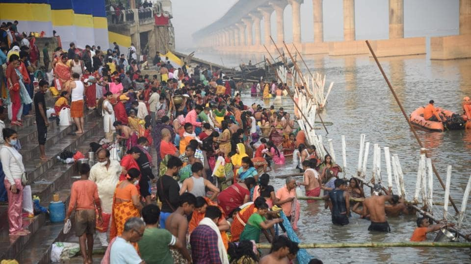 Devotees at the ghat early on November 18 morning in Patna.