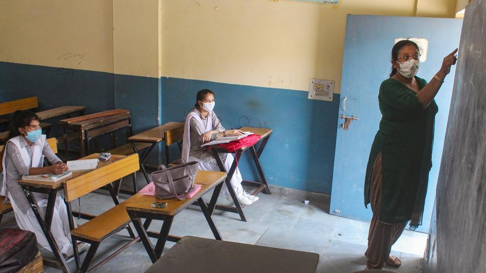 Students attend a class after schools in Gurugram in Haryana. (File Photo)