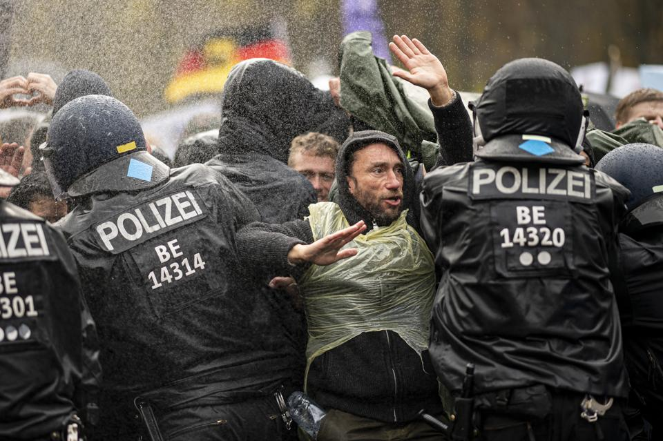 Berlin police spokesman Thilo Cabiltz said that more than 100 people were arrested and many more temporarily detained.