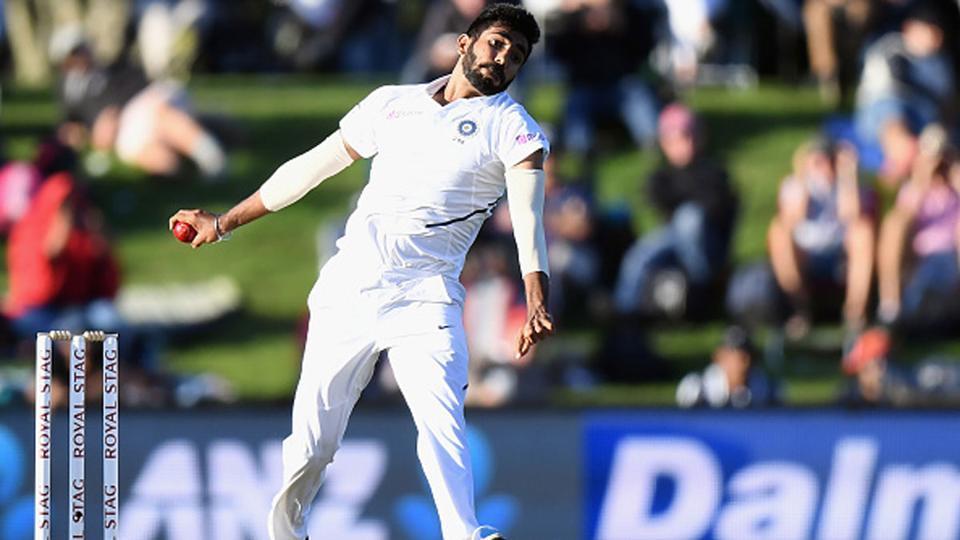 Jasprit Bumrah in his bowling stride.