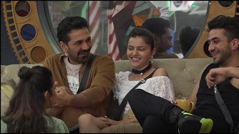 Bigg Boss 14: Abhinav Shukla and Rubina Dilaik during a candid conversation with Aly Goni and Jasmin Bhasin.
