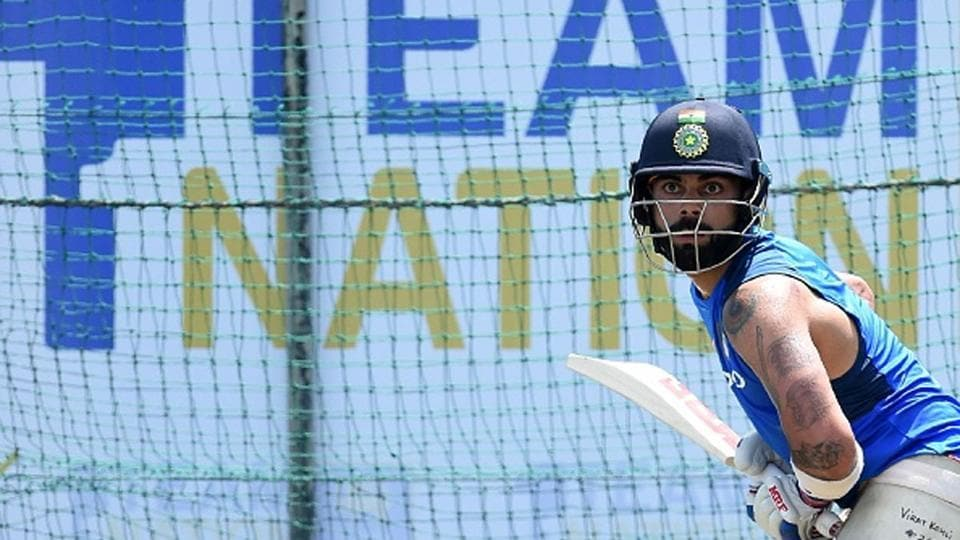 Virat Kohli in the nets.