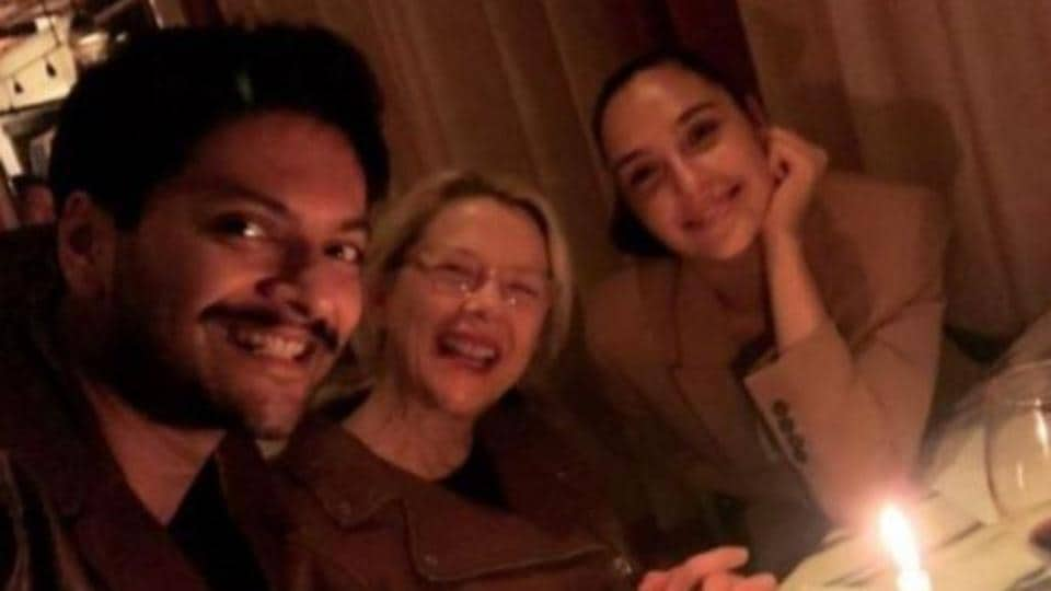 Ali Fazal poses with Annette Bening and Gal Gadot.