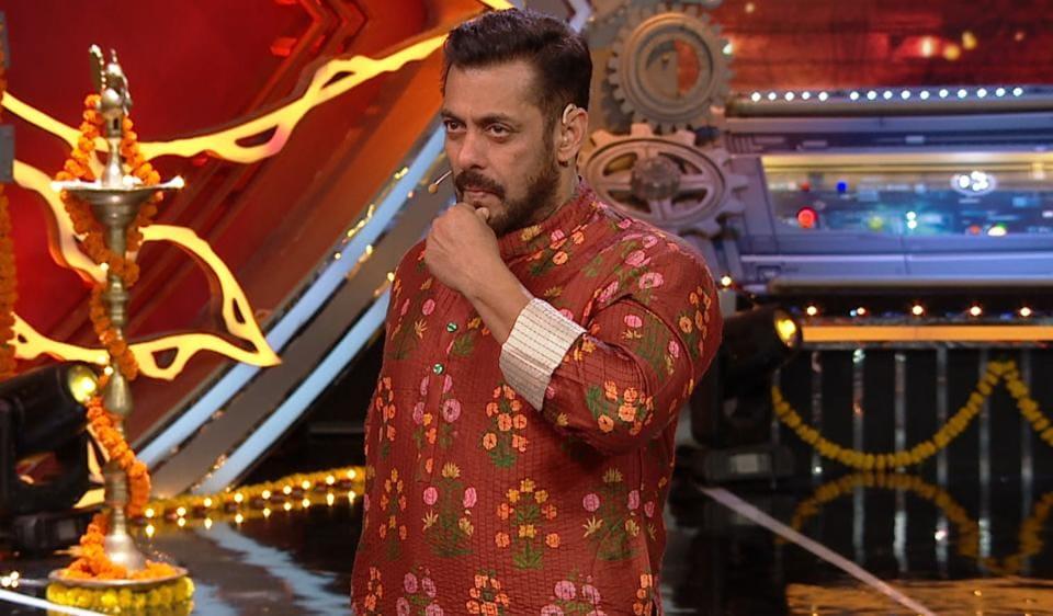 Salman Khan on the sets of Bigg Boss 14.