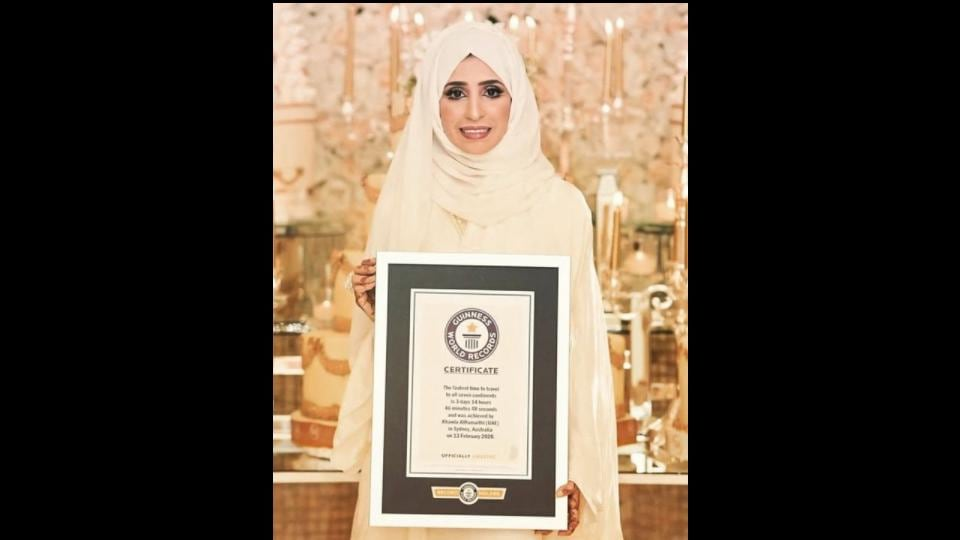 Dr. Khawla Al Romaithi from UAE achieved the Guinness Book of Records for travelling seven continents in the shortest time span ever.