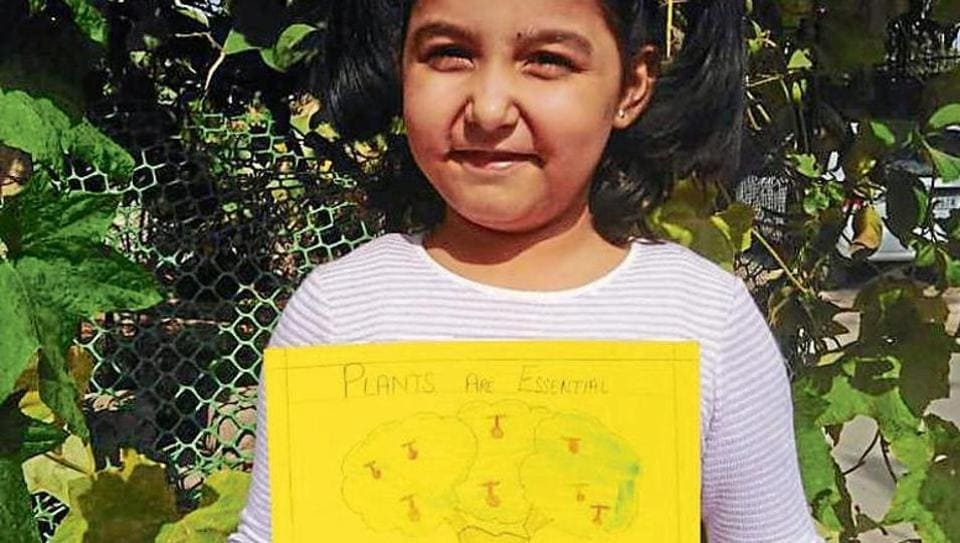 A student of Ryan International School, Mohali, displaying her write-up during the online session.