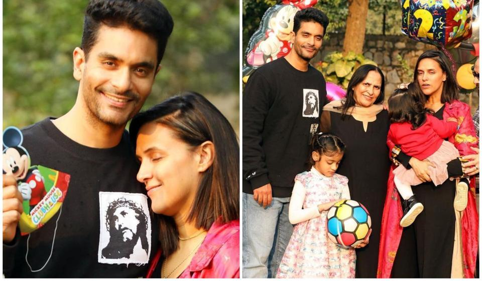 Angad Bedi and Neha Dhupia threw an outdoor birthday party for their daughter Mehr.