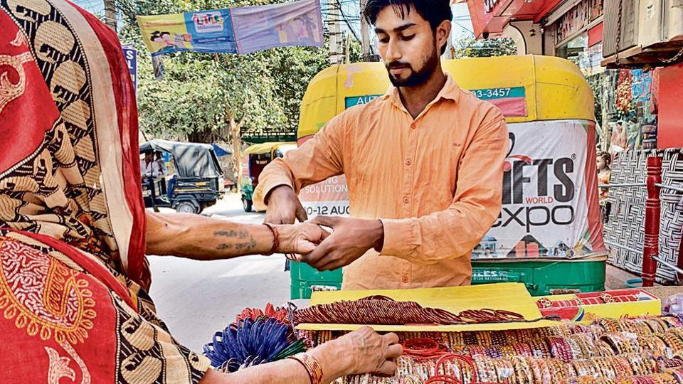 "Across the road from Gurugram's Anaj Mandi, it is stacked up with thousands of glass bangles. ""Don't show me any cracked choori (bangle),"" she snubs at vendor Aamir Khan who fervently wants the woman to buy the bangles."