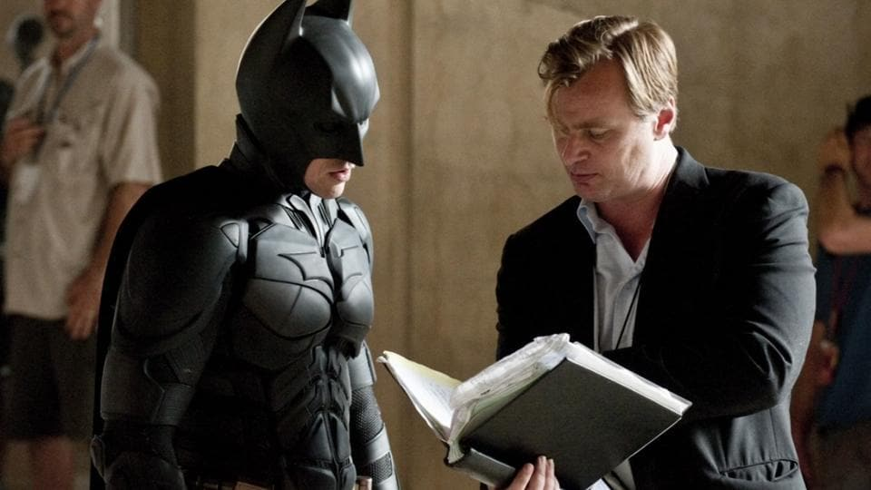 Christopher Nolan directs Christian Bale on The Dark Knight.