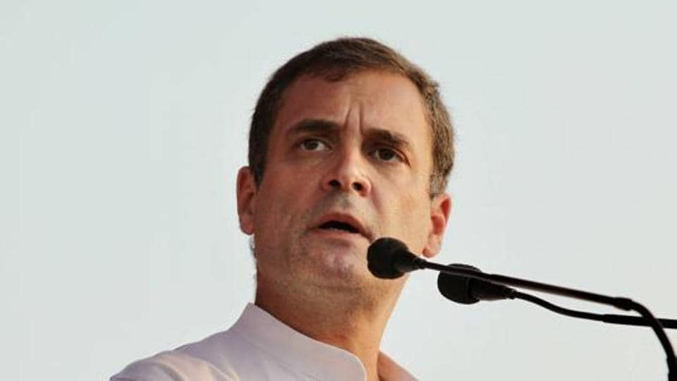 Congress leader Rahul Gandhi speaks during the second leg of his campaign for Bihar assembly elections in Darbhanga district in this file photo.