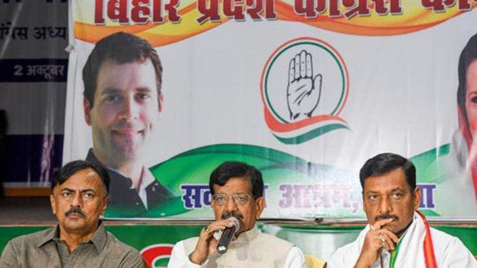 Bihar Pradesh Congress President Madan Mohan Jha addresses a press conference at party office, in Patna on November 11.