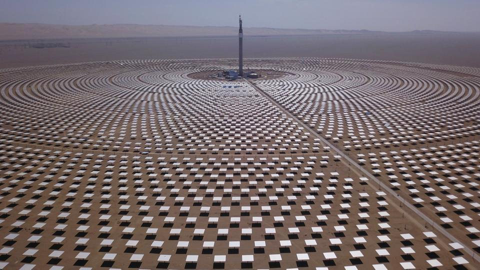This file photo taken on September 2, 2018 shows a view of the 100-megawatt molten-salt solar thermal power plant in Dunhuang in China's northwestern Gansu province.