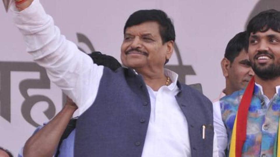Pragatisheel Samajwadi Party-Lohia (PSP-L) chief Shivpal Singh Yadav during his rally at Ramabai ground in Lucknow in Dec 2018.