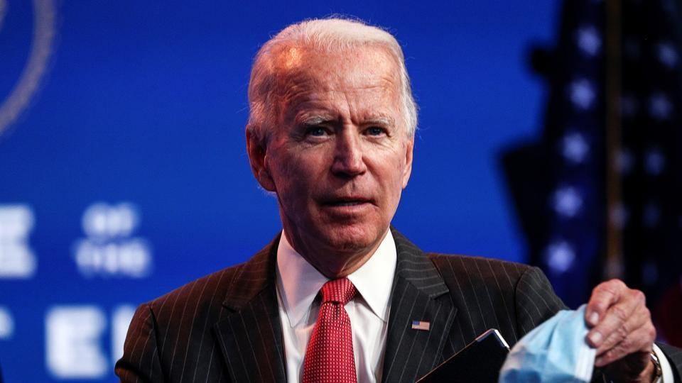 US President-elect Joe Biden concludes his remarks to reporters following an online meeting with members of the National Governors Association (NGA) executive committee in Wilmington, Delaware, US on November 19, 2020.
