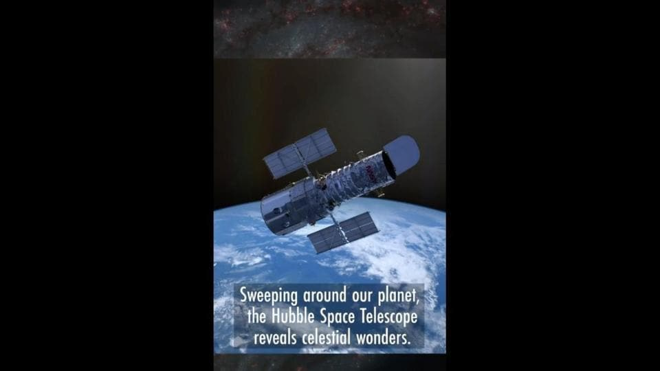 The image shows the Hubble Space Telescope.