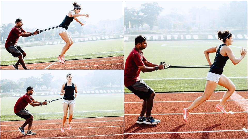 Taapsee Pannu trains with Central Railway's athletic coach Melwyn Crasto