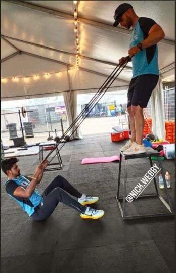 Indian batsman Shreays Iyer training with strength and conditioning coach Nick Webb (instagram)