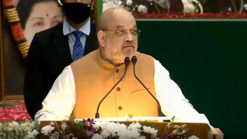 Home minister Amit Shah addresses a gathering in Chennai.