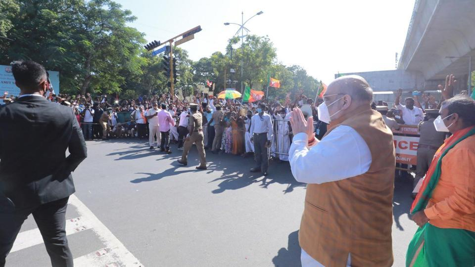Union home minister Amit Shah greeting supporters in Chennai on Saturday.
