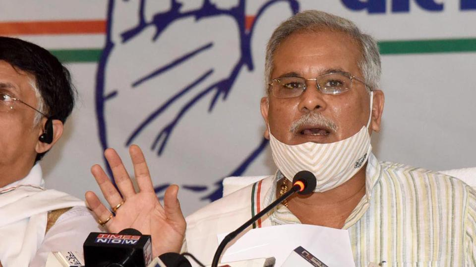 Chhattisgarh Chief Minister Bhupesh Baghel addressing a press conference ahead of Bihar Assembly Elections, at Hotel Maurya, in Patna.