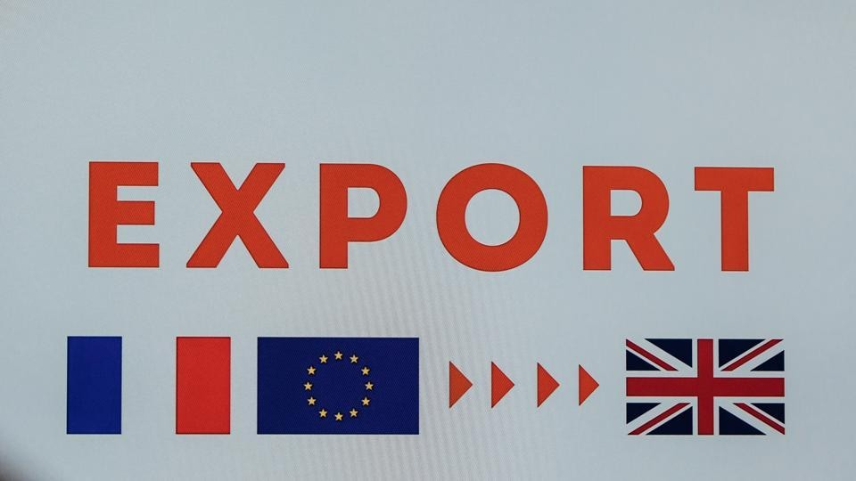 An 'Export' sign featuring French and UK national flags and the stars of the European Union (EU) as the Port of Le Havre presents its Brexit preparations in Le Havre, France, on Friday, Nov. 20, 2020.