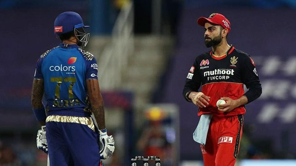 Virat Kohli of the Royal Challengers Bangalore and Surya Kumar Yadav of Mumbai Indians during match 48 of IPL 2020 at Sheikh Zayed Stadium, in Abu Dhabi.
