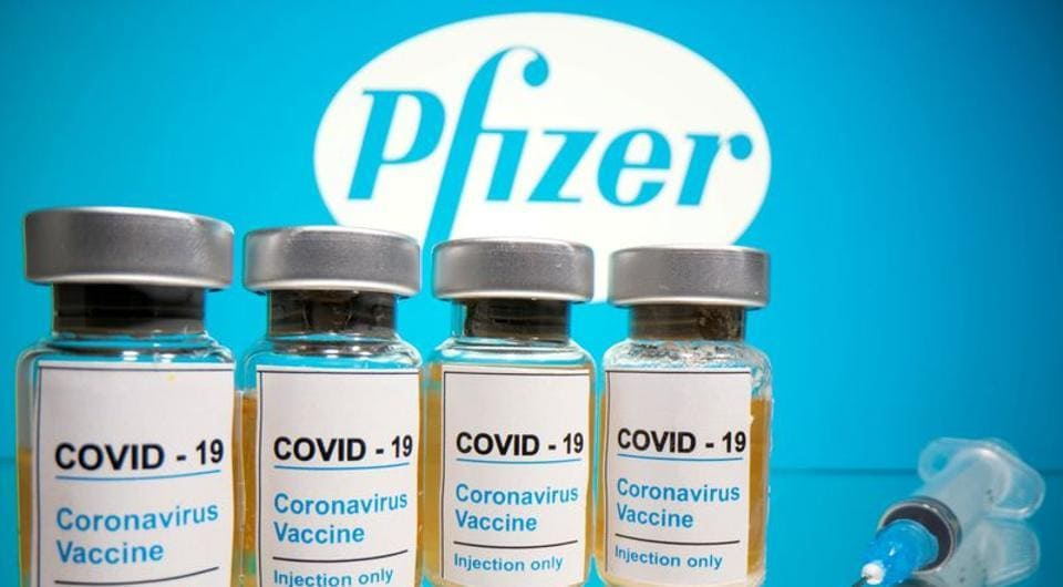 Vials with a sticker reading,