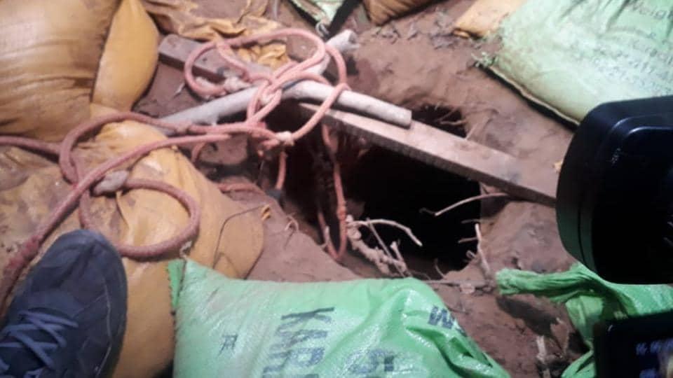 Trans-border tunnel detected in Jammu's Samba sector on Sunday. Sand bags had Karachi markings.