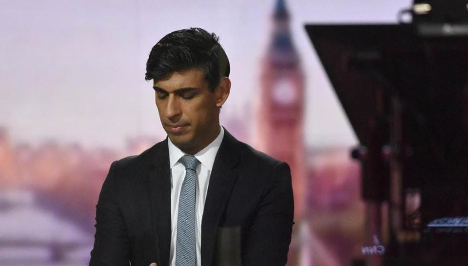 Britain's Chancellor of the Exchequer Rishi Sunak appears on BBC TV's The Andrew Marr Show in London on November 22.