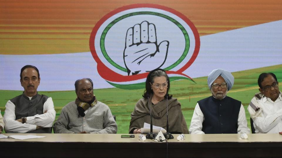 Congress president Sonia Gandhi with Ghulam Nabi Azad, A K Antony, Manmohan Singh and P. Chidambram as she addresses the media after a meeting of the CWC at AICC in New Delhi.