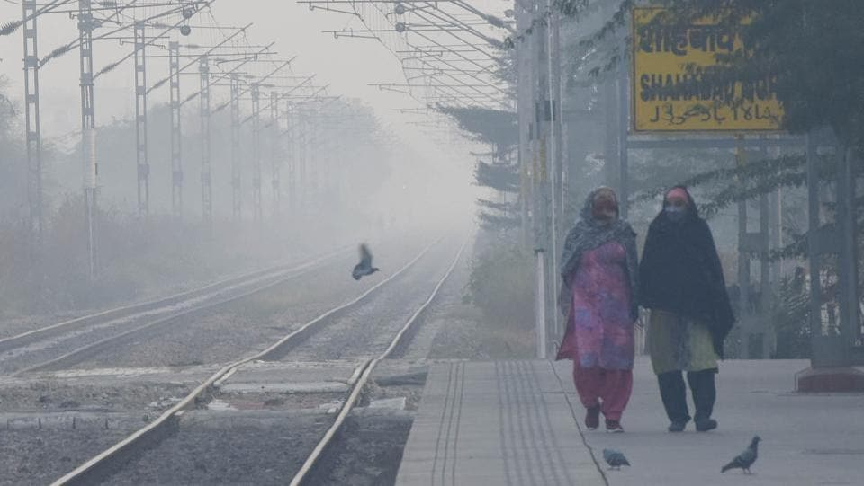 Women wearing warm clothes walk along the platform at Mohamadpur Railway Station near Dwarka in New Delhi on November 22. A cold wave is likely to prevail in isolated pockets of northwest India between November 20 and 26. A cold wave is declared when minimum temperature is under 10 degrees Celsius and the departure from normal is 4.5 degrees Celsius for more than a day, HT reported. (Vipin Kumar / HT Photo)