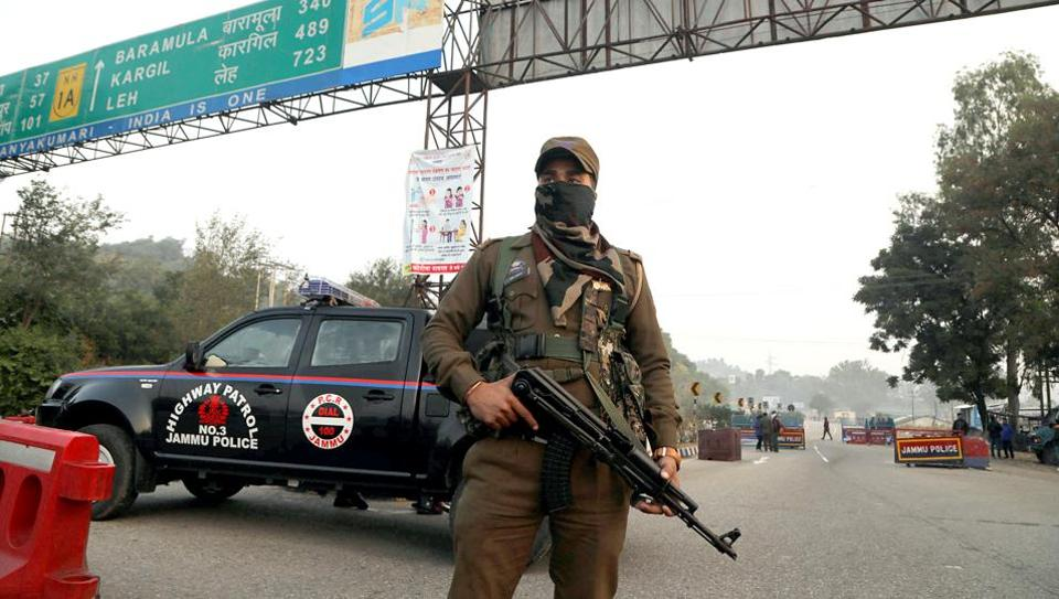 File photo: A security personnel stands guard in Jammu.