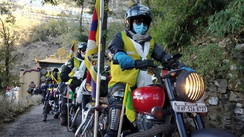 Members of the Tibetan Youth Congress during the bike rally in Shimla on Sunday.