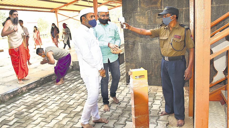 Temples and places of worship of all religions were reopened for devotees. All rules laid down by the state government to prevent the spread of coronavirus disease were observed. Photograph taken at Moryagosavi temple, Chinchwad in Pune, India, on Monday, November 16, 2020.