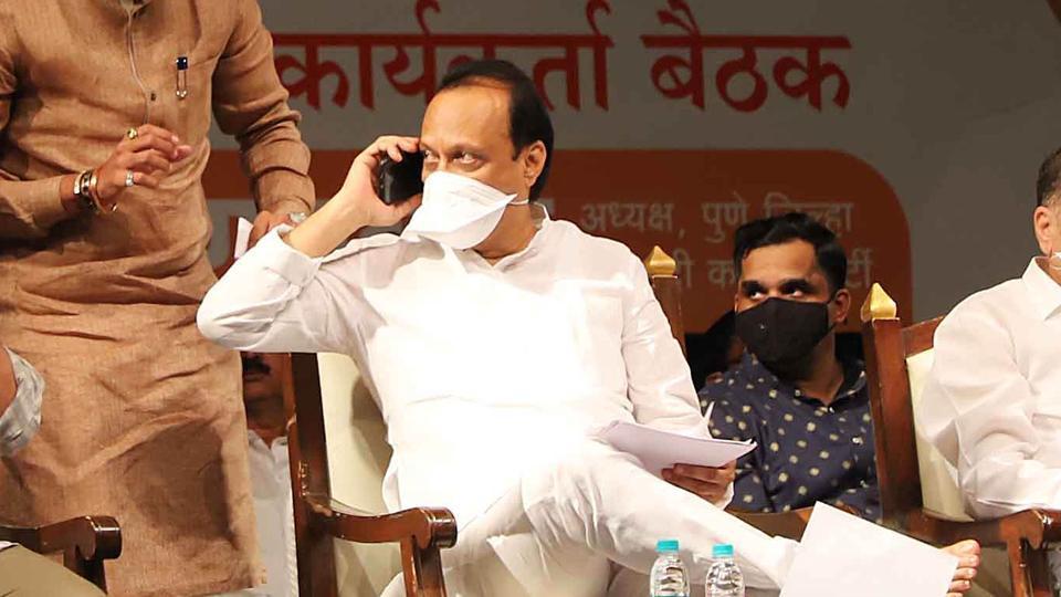 Deputy chief minister of Maharashtra Ajit Pawar at a Nationalist Congress party meet in Pune. (Photo by Ravindra Joshi/HT PHOTO)