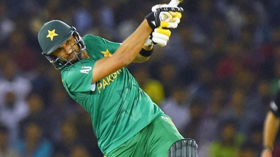 Pakistan Captain Shahid Afridi plays a shot during the ICC World T20 match between New Zealand and Pakistan at PCA Stadium Mohali on Tuesday.