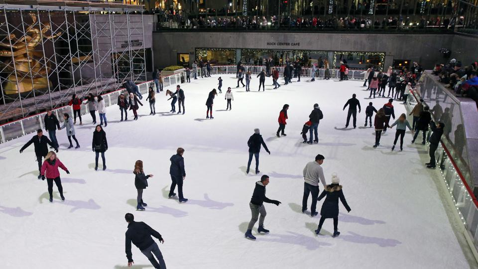 The iconic, sunken rink in midtown Manhattan is welcoming skaters Saturday, Nov. 21, 2020, as part of a tradition dating to the 1930s, according to the Rockefeller Center website.The rink is operating at a reduced capacity, with skate time limited to 50 minutes. Masks are required as a further pandemic safety measure.