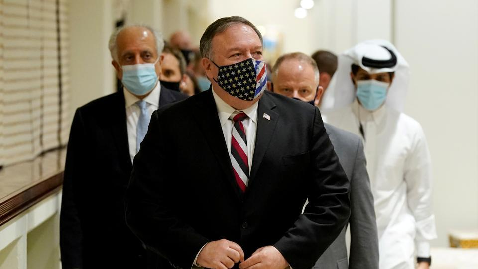 US Secretary of State Mike Pompeo arrives for a meeting with Taliban's peace negotiation team, amid talks between the Taliban and the Afghan government, in Doha, Qatar.