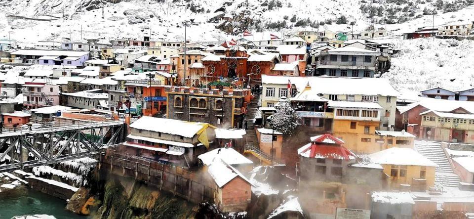 Snowfall at Badiranath Dham in Chamoli district of Uttarakhand on November 16, 2020.
