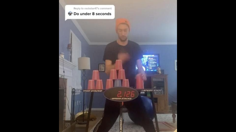 The caption shared alongside the post states that Klein's record of cup stacking is 7.80 seconds.
