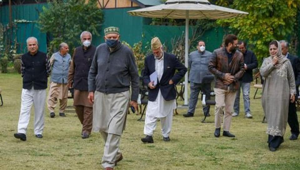 MP and President of National Conference (NC) Farooq Abdullah, PDP chief and former Chief Minister Mehbooba Mufti, former CM Omar Abdullah and other members after a meeting of People's Alliance for Gupkar Declaration, in Srinagar.