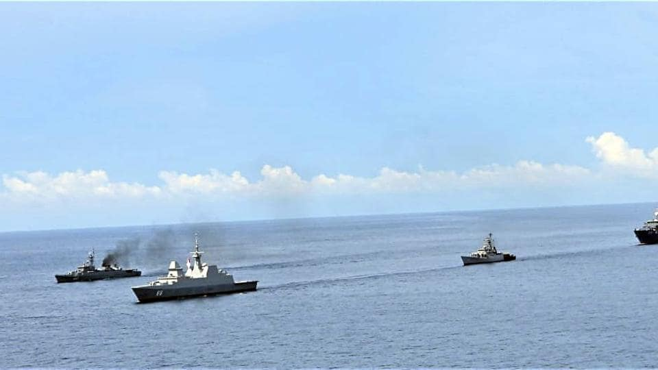 Indian Navy assets taking part in the drills include destroyer INS Rana, corvettes INS Kamorta and INS Karmuk.