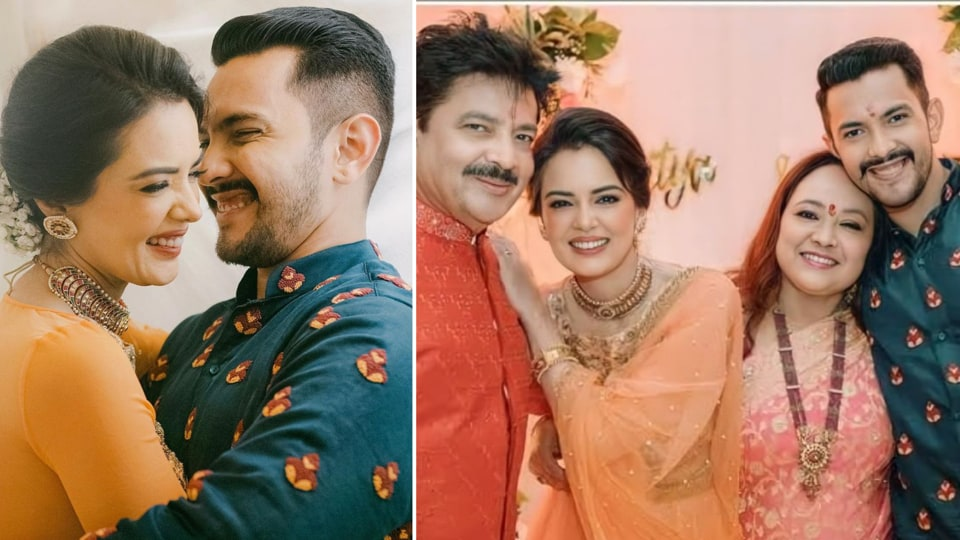 Aditya Narayan  and Shweta Agarwal wear co-ordinated outfits for pre-wedding Tilak ceremony. Unseen pics, videos here