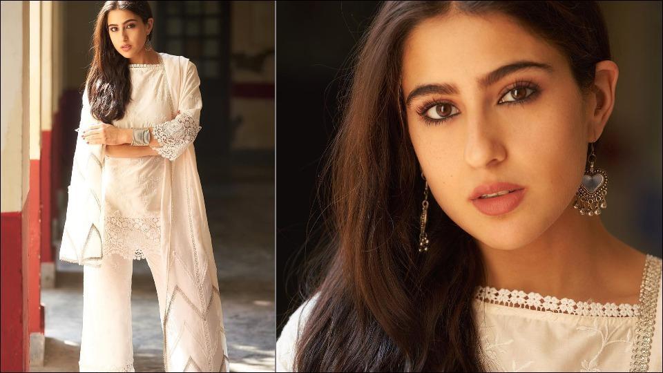 Sara Ali Khan channels her Pataudi princess vibes in a white chikankari kurta set for Coolie No.1 promotions
