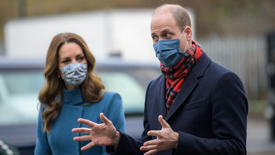 Britain's Prince William and Catherine, Duchess of Cambridge visit the Scottish Ambulance Service at Newbridge near Edinburgh in Scotland, Britain as part of their working visits across the UK ahead of the Christmas holidays to pay tribute to the work of individuals and organisations across the country in response to the coronavirus pandemic December 7, 2020.