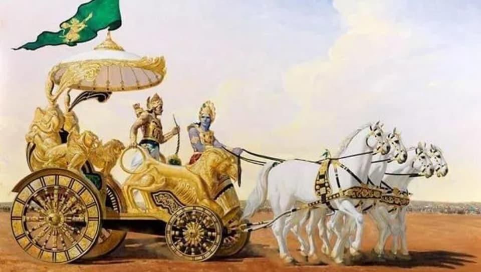 The Bhagavad Gita is a compilation of dialogues between Pandava prince Arjuna and Lord Krishna during the Kurukshetra war.