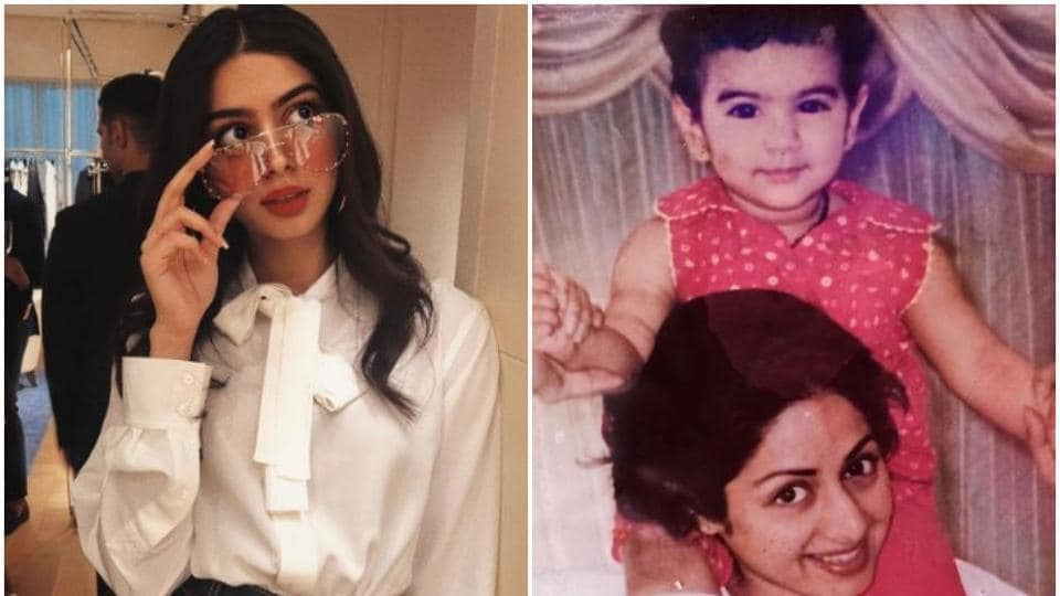 Khushi Kapoor with her mother Sridevi.